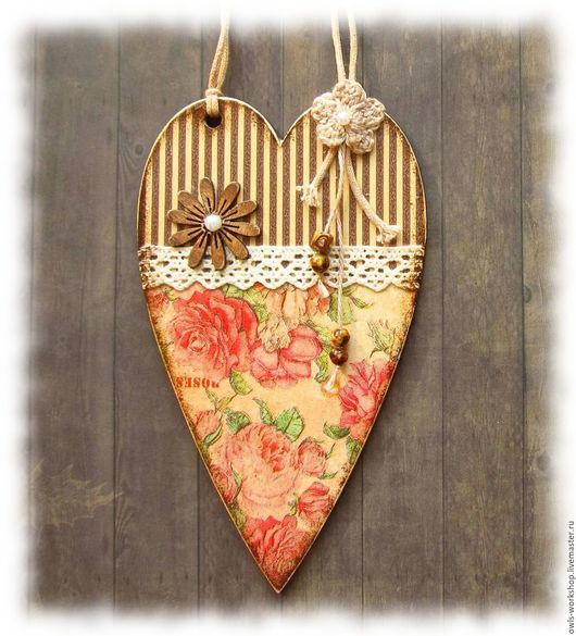 Подвески ручной работы. Ярмарка Мастеров - ручная работа. Купить декоративная интерьерная подвеска - сердечко Винтажные розы. Handmade.