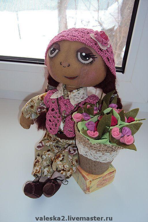 """Куклы тыквоголовки ручной работы. Ярмарка Мастеров - ручная работа. Купить Тыквоголовая кукла """"Цветочница Анюта"""". Handmade. Цветы, хлопок"""