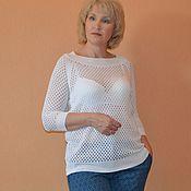 """Одежда ручной работы. Ярмарка Мастеров - ручная работа Кофта """"Сеточка"""", белая, из 100% тонкого хлопка. Handmade."""