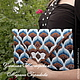 Женские сумки ручной работы. Клатч сине-коричневый вышитый в стиле барджелло. Уютная Мастерская (Марина). Ярмарка Мастеров.