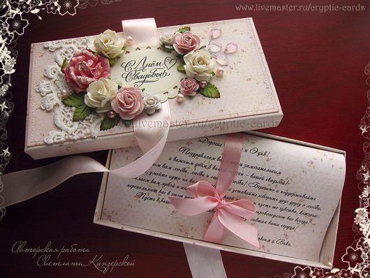"""Свадебные открытки ручной работы. Ярмарка Мастеров - ручная работа. Купить Коробочка для денег с текстом """"Нежные розы. Handmade."""