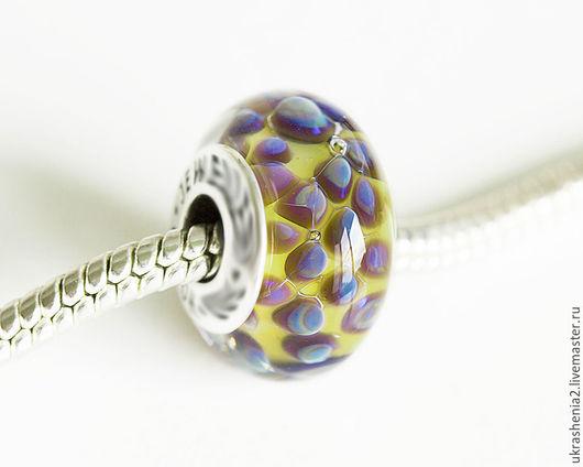 Бусины для браслетов Pandora, Trollbeads. Бусины сине-желтые из стекла лэмпворк. Цена 400р за шт. без вставки.