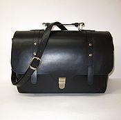 Сумки и аксессуары handmade. Livemaster - original item Large satchel made of genuine black leather. Handmade.