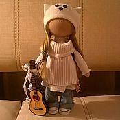 Тыквоголовка ручной работы. Ярмарка Мастеров - ручная работа Кукла в шапочке кошки. Handmade.