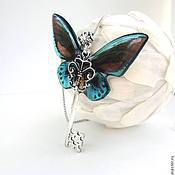 Украшения handmade. Livemaster - original item Transparent Pendant Key Blue Butterfly Vintage necklace. Handmade.