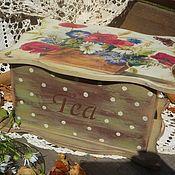 """Короб ручной работы. Ярмарка Мастеров - ручная работа Чайная коробка """"Маки"""". Handmade."""
