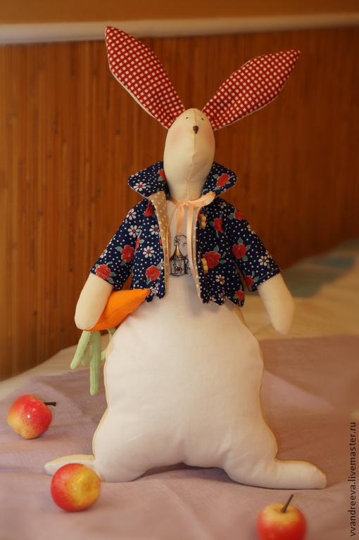 Куклы Тильды ручной работы. Ярмарка Мастеров - ручная работа. Купить Заяц Валентин. Handmade. Тёмно-синий, тильда заяц