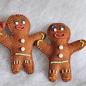 Куклы и игрушки ручной работы. Ярмарка Мастеров - ручная работа Пряничный человечек из фетра. Handmade.
