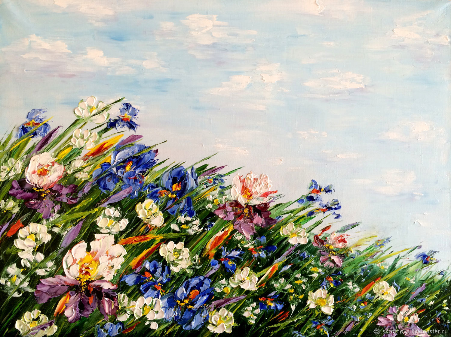 Painting with irises oil. Irises in the field, Pictures, Moscow,  Фото №1