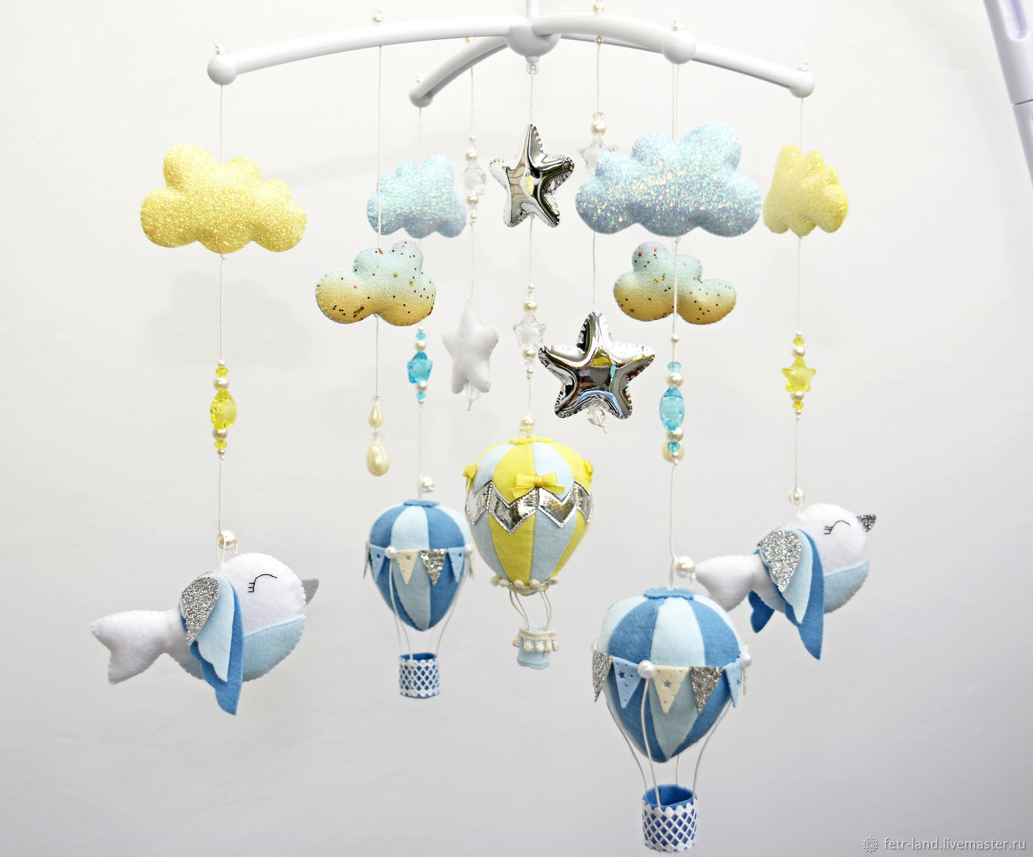 Baby Mobile out of felt 'birds and balloons', Toys for cribs, Belgorod,  Фото №1