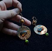 Украшения ручной работы. Ярмарка Мастеров - ручная работа Серьги из меди с янтарем и натуральными камнями. Handmade.