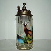 Винтаж handmade. Livemaster - original item Collectible beer mug Hand painted 19 century Bohemia. Handmade.