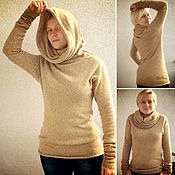 Одежда ручной работы. Ярмарка Мастеров - ручная работа Вязаный свитер с большим воротником. Handmade.