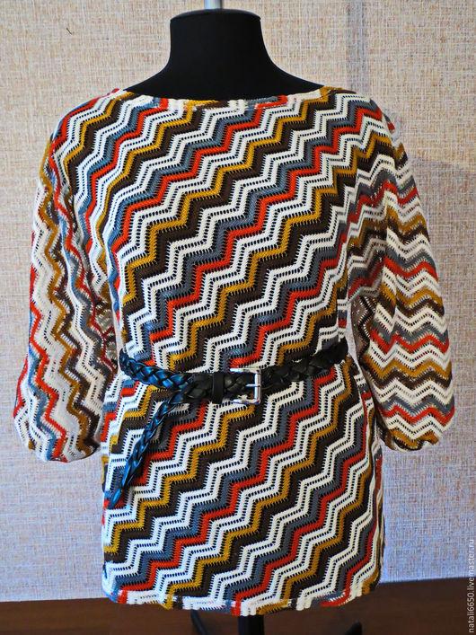 Блузки ручной работы. Ярмарка Мастеров - ручная работа. Купить Блуза из  кружевного трикотажа.. Handmade. В полоску, женская одежда
