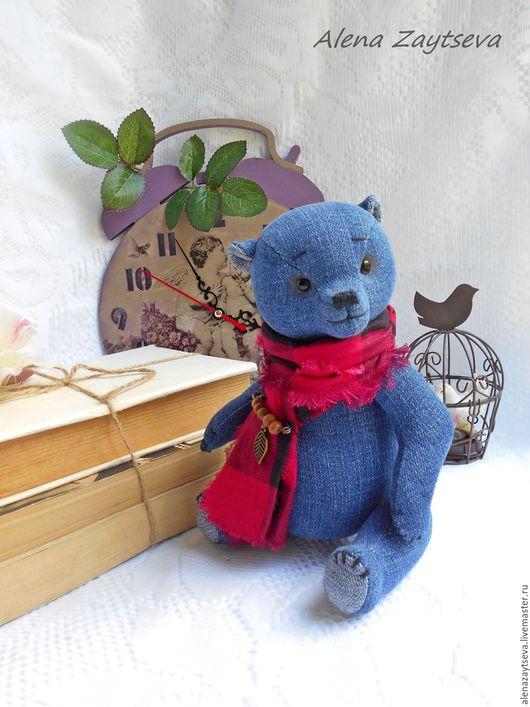 Мишки Тедди ручной работы. Ярмарка Мастеров - ручная работа. Купить Джинсовый медвежонок ;). Handmade. Тёмно-синий
