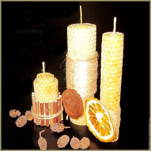 Быт ручной работы. Ярмарка Мастеров - ручная работа. Купить Интерьерная композиция, подарочный набор свечей из вощины и декора. Handmade.