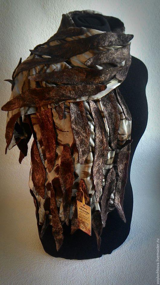 Шарфы и шарфики ручной работы. Ярмарка Мастеров - ручная работа. Купить Шарфик Хижий принт. Handmade. Коричневый, нуновойлочный шарф