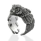 Украшения handmade. Livemaster - original item Owl ring cast in silver. Handmade.