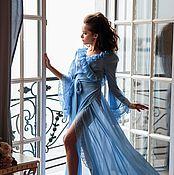 """Одежда ручной работы. Ярмарка Мастеров - ручная работа Голубое будуарное платье """"Нежность"""" - из шифона с кружевом. Handmade."""