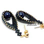 "Украшения handmade. Livemaster - original item Dark blue beaded peyote teardrop earrings ""Lisa"". Handmade."