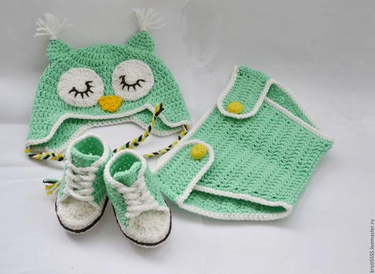 """Для новорожденных, ручной работы. Ярмарка Мастеров - ручная работа. Купить Комплект шапочка, пинетки и трусики для новорожденного """"сова"""". Handmade."""