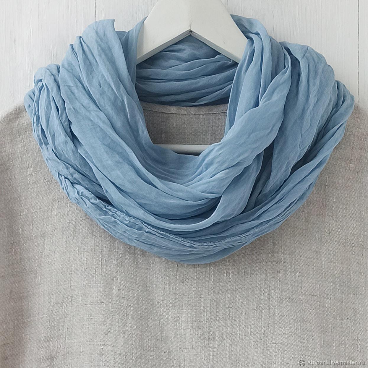 Серо-голубой шарф-платок из тонкого хлопка, Платки, Томск,  Фото №1