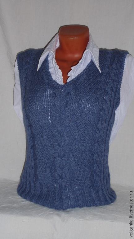Waistcoat style Denim Dark Blue, Vests, Saratov,  Фото №1