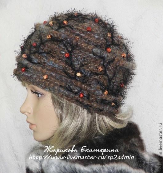Комплекты аксессуаров ручной работы. Ярмарка Мастеров - ручная работа. Купить шапка женская вязаная  ПОЗДНИЕ ЯГОДЫ. Handmade. Серый