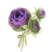 Украшения handmade. Livemaster - original item Rose Purple Valley. The brooch with the colors of the fabrics. BOUQUET. Handmade.