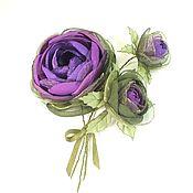 Украшения ручной работы. Ярмарка Мастеров - ручная работа Розы Фиолетовой Долины. Брошь с цветами из ткани. Букет. Handmade.