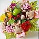Букет из игрушек Осенние мишки с фруктами