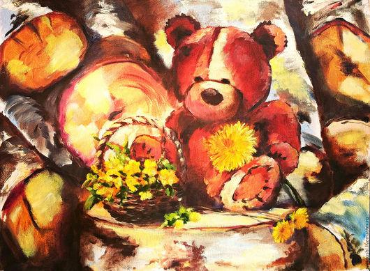 """Натюрморт ручной работы. Ярмарка Мастеров - ручная работа. Купить Картина маслом в детскую """"Мишка с одуванчиком  или портал в детство"""". Handmade."""