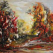 Картины ручной работы. Ярмарка Мастеров - ручная работа Осенний лес. Абстрактный пейзаж. Смешанная техника.. Handmade.
