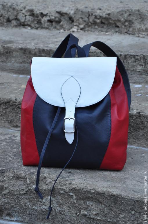 """Рюкзаки ручной работы. Ярмарка Мастеров - ручная работа. Купить Кожаный рюкзак - """" Триколор"""". Handmade. Натуральная кожа"""