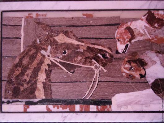 Животные ручной работы. Ярмарка Мастеров - ручная работа. Купить лошадь и собаки. Handmade. Коричневый, панно, Картины и панно, мрамор