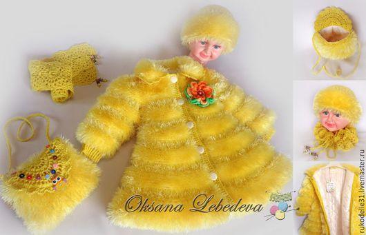 осенне  теплое пальто, желтое детсок епальто, пальто ручной работы, пальто теплое для девочки ручная работа, пальто с подкладкой теплое детское, детские пальто для девочек купить, красивые пальто фото