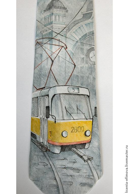 Галстуки, бабочки ручной работы. Ярмарка Мастеров - ручная работа. Купить Шелковый галстук с ручной росписью - Московский трамвай. Handmade.