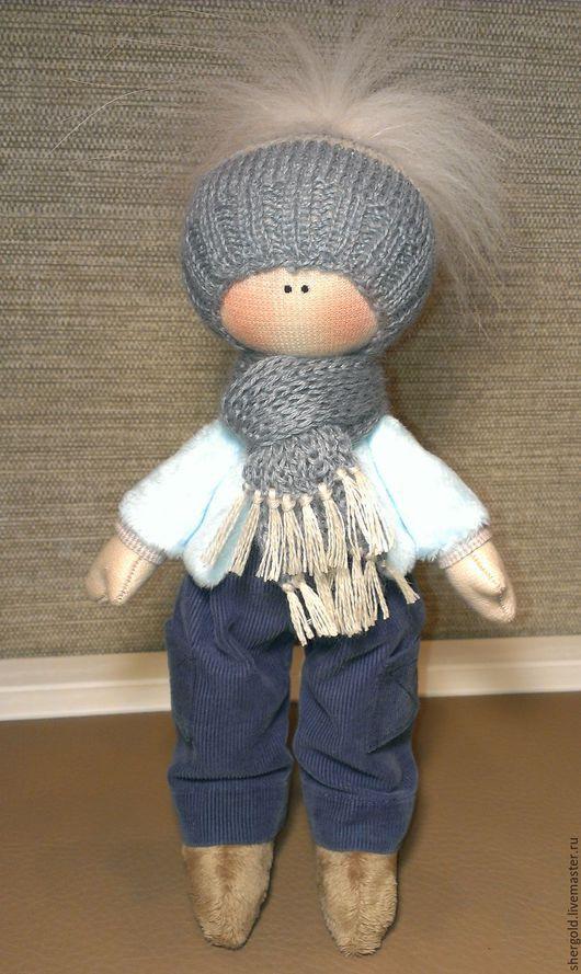 Коллекционные куклы ручной работы. Ярмарка Мастеров - ручная работа. Купить Максимка-интерьерная кукла. Handmade. Голубой, плюш
