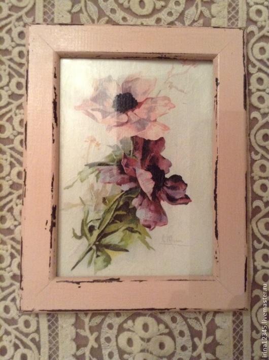 Натюрморт ручной работы. Ярмарка Мастеров - ручная работа. Купить Рамка для фотографий, панно Цветы (1). Handmade. Бледно-розовый