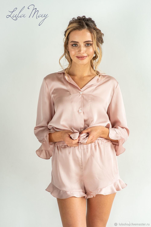 Пижама женская LOVE с шортами из тенселя лиоцелла, Пижамы, Балашиха, Фото №1