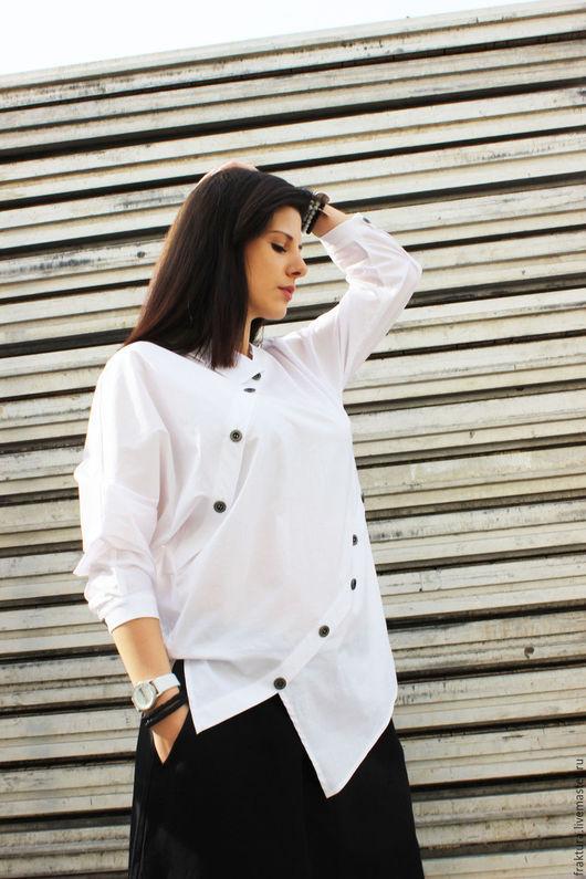 Блузки ручной работы. Ярмарка Мастеров - ручная работа. Купить Асимметричная рубашка  B0002. Handmade. Белый, экстравагантная рубашка