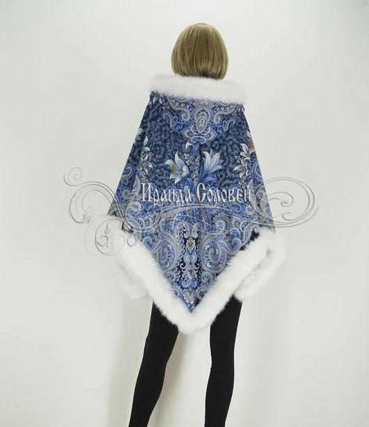 Авторское пончо с капюшоном из шерстяного павлопосадского платка (100% шерсть)