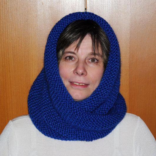 """Капюшоны ручной работы. Ярмарка Мастеров - ручная работа. Купить Снуд-шарф  """"Небо в сапфирах"""" (полушерсть). Handmade. Шарф-снуд"""