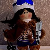 Куклы Тильда ручной работы. Ярмарка Мастеров - ручная работа Куклы Тильда: лыжница. Handmade.