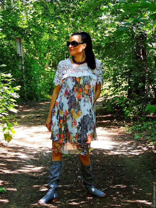 летнее платье, платье из шифона, платье с кружевом, платье свободное, платье, шифон, бохо, стиль бохо