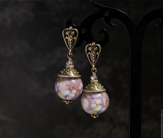 """Серьги ручной работы. Ярмарка Мастеров - ручная работа. Купить """"Франжипани"""" серьги лэмпворк. Handmade. Серьги, стекло, lampwork (лэмпворк)"""