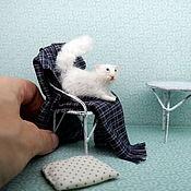 Куклы и игрушки handmade. Livemaster - original item White fluffy miniature cat for Dollhouse. Handmade.