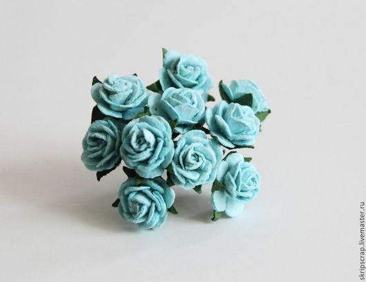 Открытки и скрапбукинг ручной работы. Ярмарка Мастеров - ручная работа. Купить Розы 1,5 см. Бирюзовые. 10 шт.!. Handmade.
