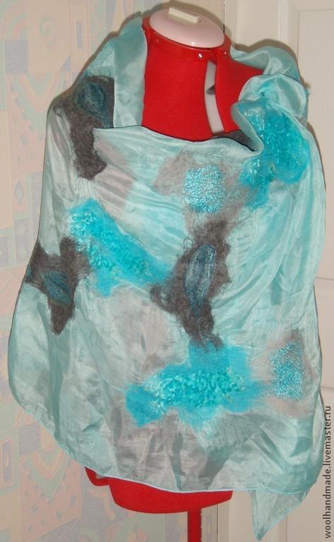 Шали, палантины ручной работы. Ярмарка Мастеров - ручная работа. Купить Палантин из шерсти Нежно-голубой. Handmade. Голубой