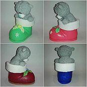 """Косметика ручной работы. Ярмарка Мастеров - ручная работа мыло """" мишка Тедди в новогоднем сапоге"""". Handmade."""